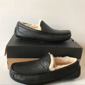 UGG Men's Ascot Driving Slippers Black Leather 11